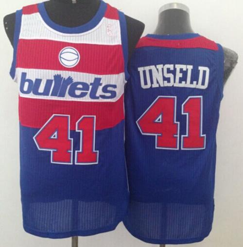 Wizards #41 Wes Unseld Blue Bullets Throwback Stitched NBA Jersey