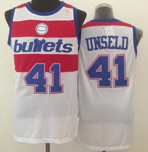 Wizards #41 Wes Unseld White Bullets Throwback Stitched NBA Jersey