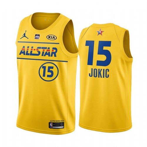 Men's 2021 All-Star Nuggets #15 Nikola Jokic Yellow Western Conference Stitched NBA Jersey