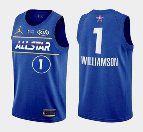 Men's 2021 All-Star Pelicans #1 Zion Williamson Blue Eastern Conference Stitched NBA Jersey