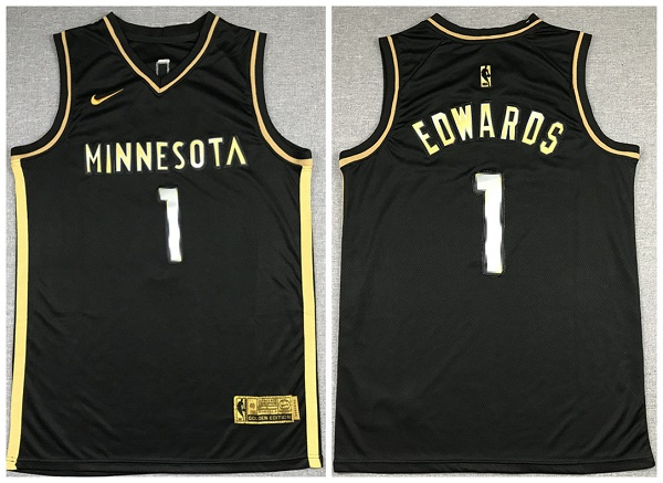 Men's Minnesota Timberwolves #1 Anthony Edwards Black Gold 2021 Swingman Stitched Jersey