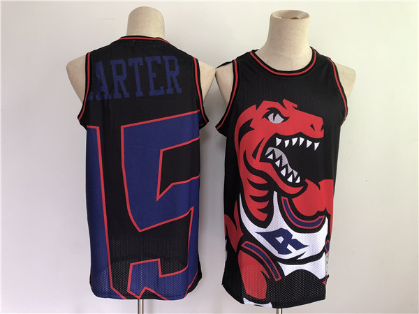 Men's Toronto Raptors #15 Vince Carter Black Big Face Throwback Stitched Jersey