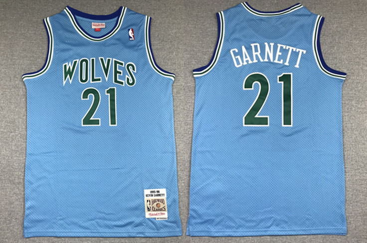 Men's Minnesota Timberwolves #21 Kevin Garnett Blue 1995-96 Throwback Stitched NBA Jersey