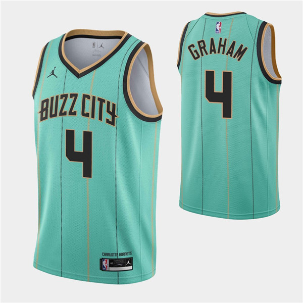 Men's Charlotte Hornets #4 Devonte' Graham 2020-21 Teal City Edition Swingman Stitched Jersey