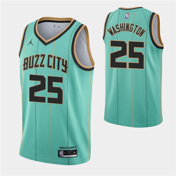 Men's Charlotte Hornets #25 P.J. Washington 2020-21 Teal City Edition Swingman Stitched Jersey