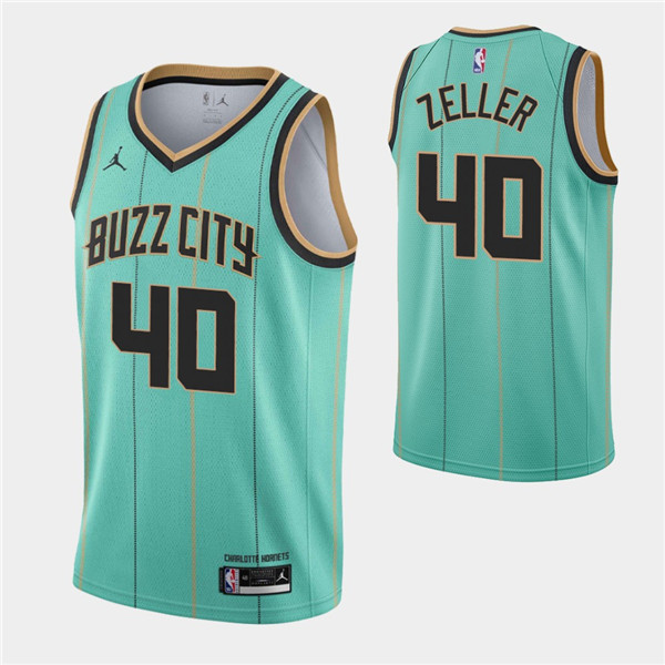 Men's Charlotte Hornets #40 Cody Zeller 2020-21 Teal City Edition Swingman Stitched Jersey