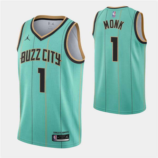 Men's Charlotte Hornets #1 Malik Monk 2020-21 Teal City Edition Swingman Stitched Jersey
