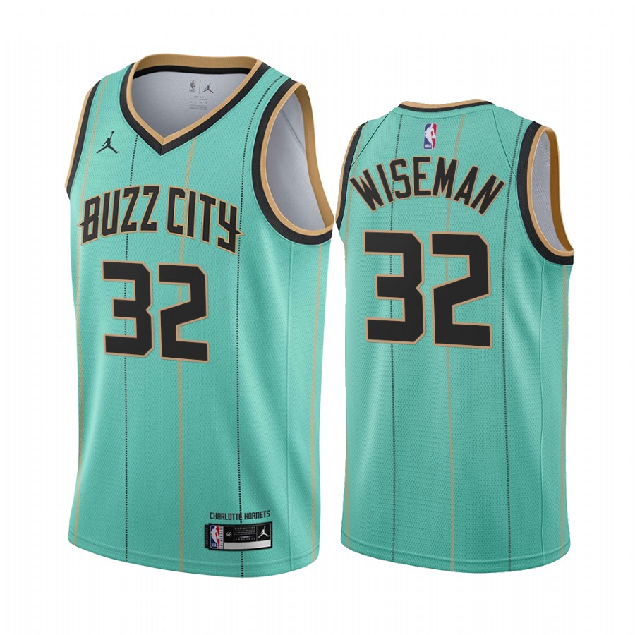 Men's Charlotte Hornets #32 James WisemanTeal Icon Edition Swingman Stitched Jersey