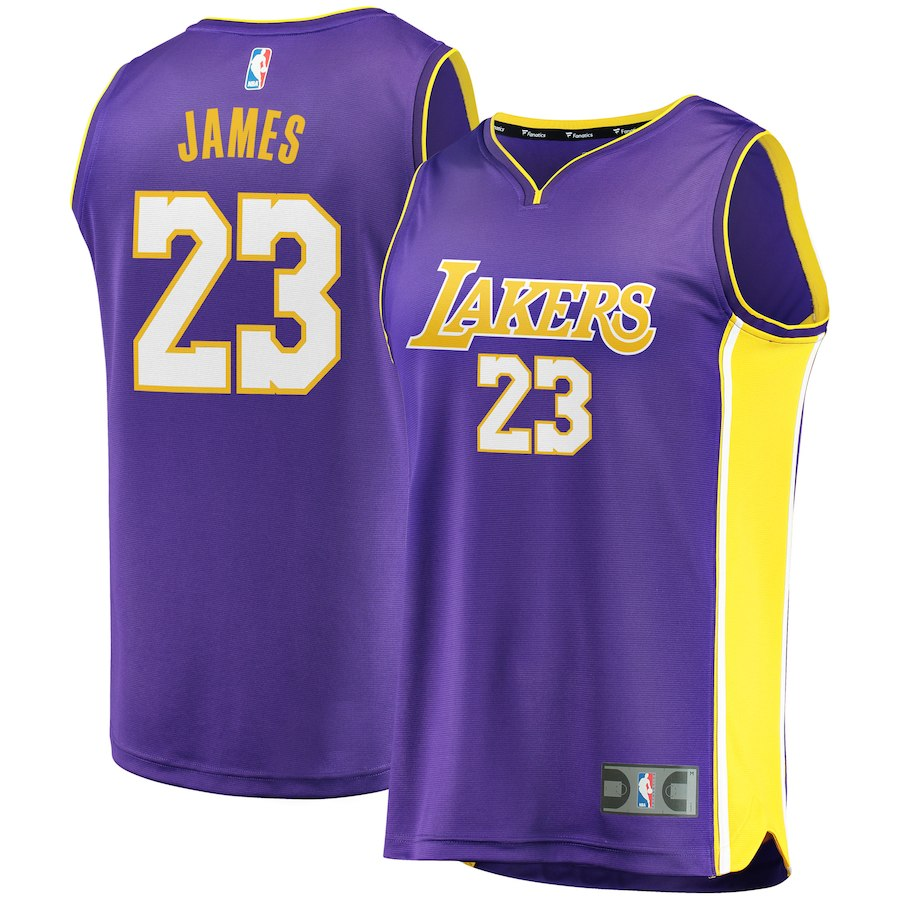 Men's Los Angeles Lakers #23 LeBron James Purple Stitched NBA Jersey