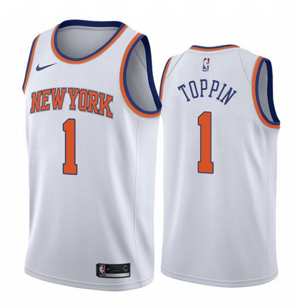 New Yok Knicks #1 Obi Toppin White Association Edition Stitched Swingman Jersey
