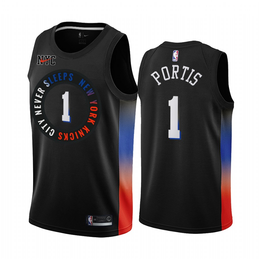 New Yok Knicks #1 Bobby Portis 2020 Black City Edition Stitched Swingman Jersey