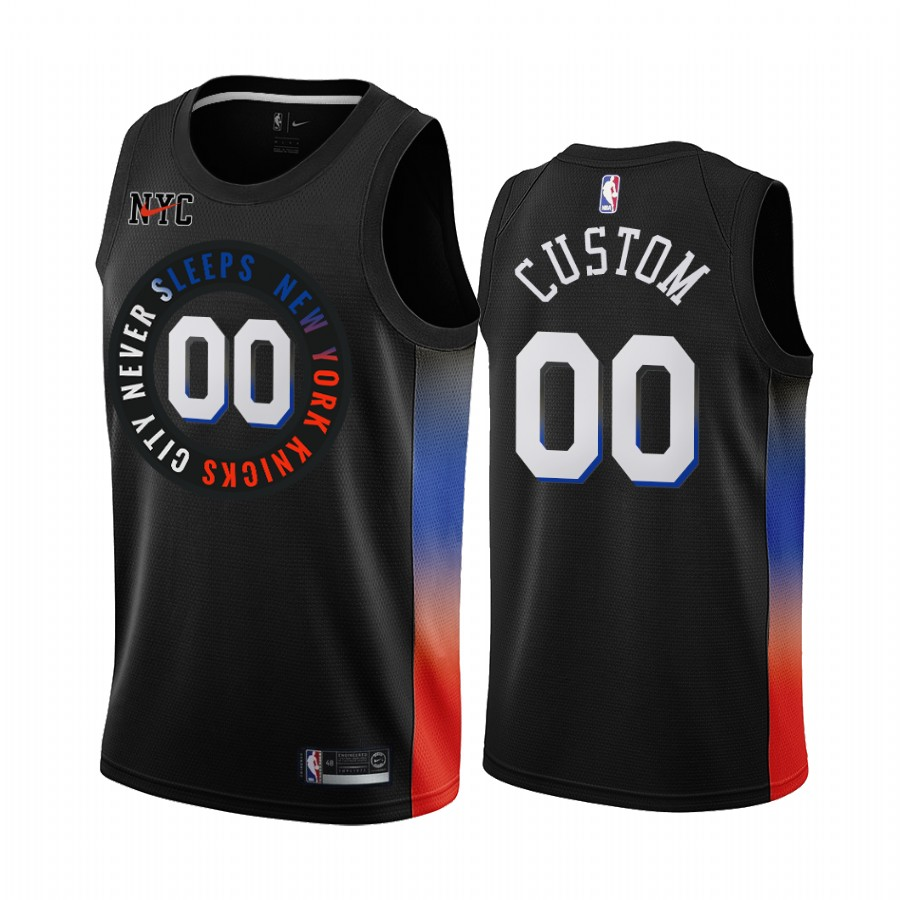 Men's New York Knicks Active Player 2020 Black City Edition Custom Stitched NBA Jersey