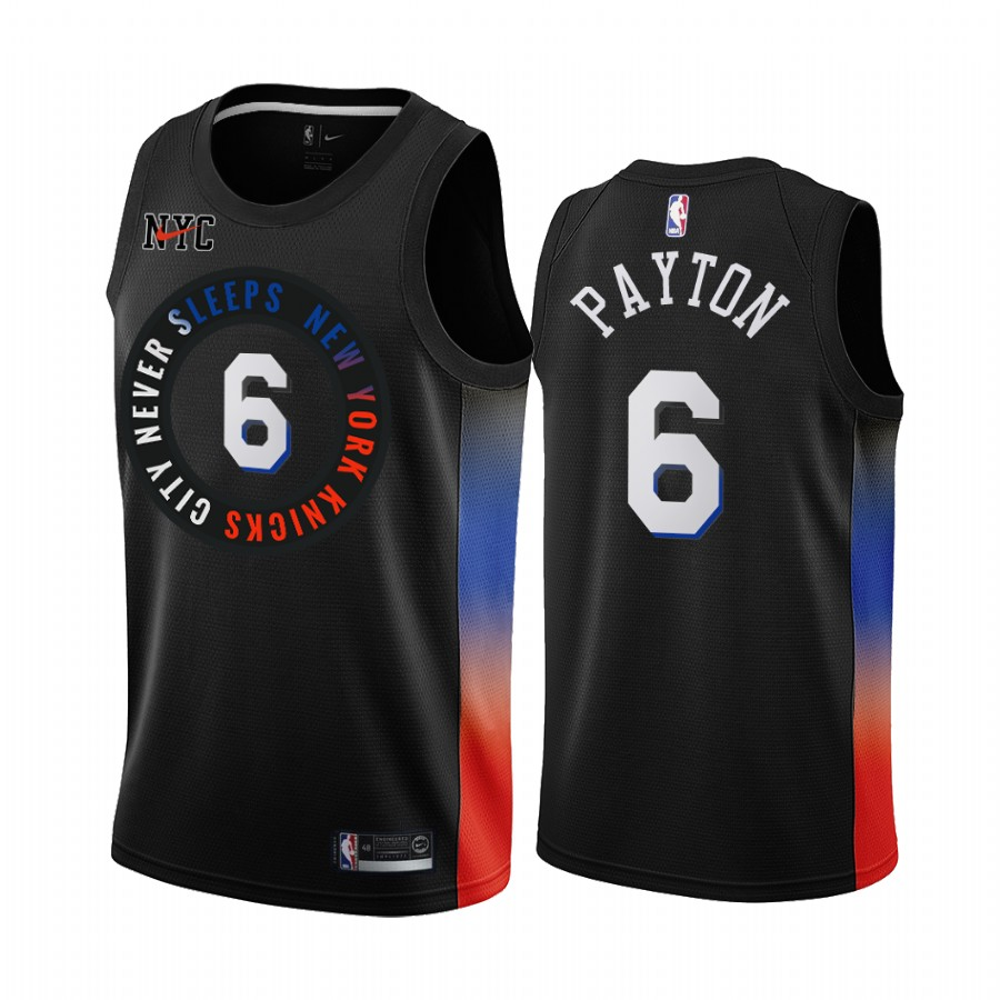 New Yok Knicks #6 Kristaps Porzingis 2020 Black City Edition Stitched Swingman Jersey