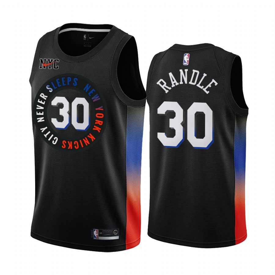 New Yok Knicks #30 Julius Randle 2020 Black City Edition Stitched Swingman Jersey