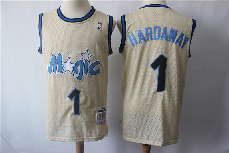 Magic #1 Penny Hardaway Cream Hardwood Classics Stitched Jersey
