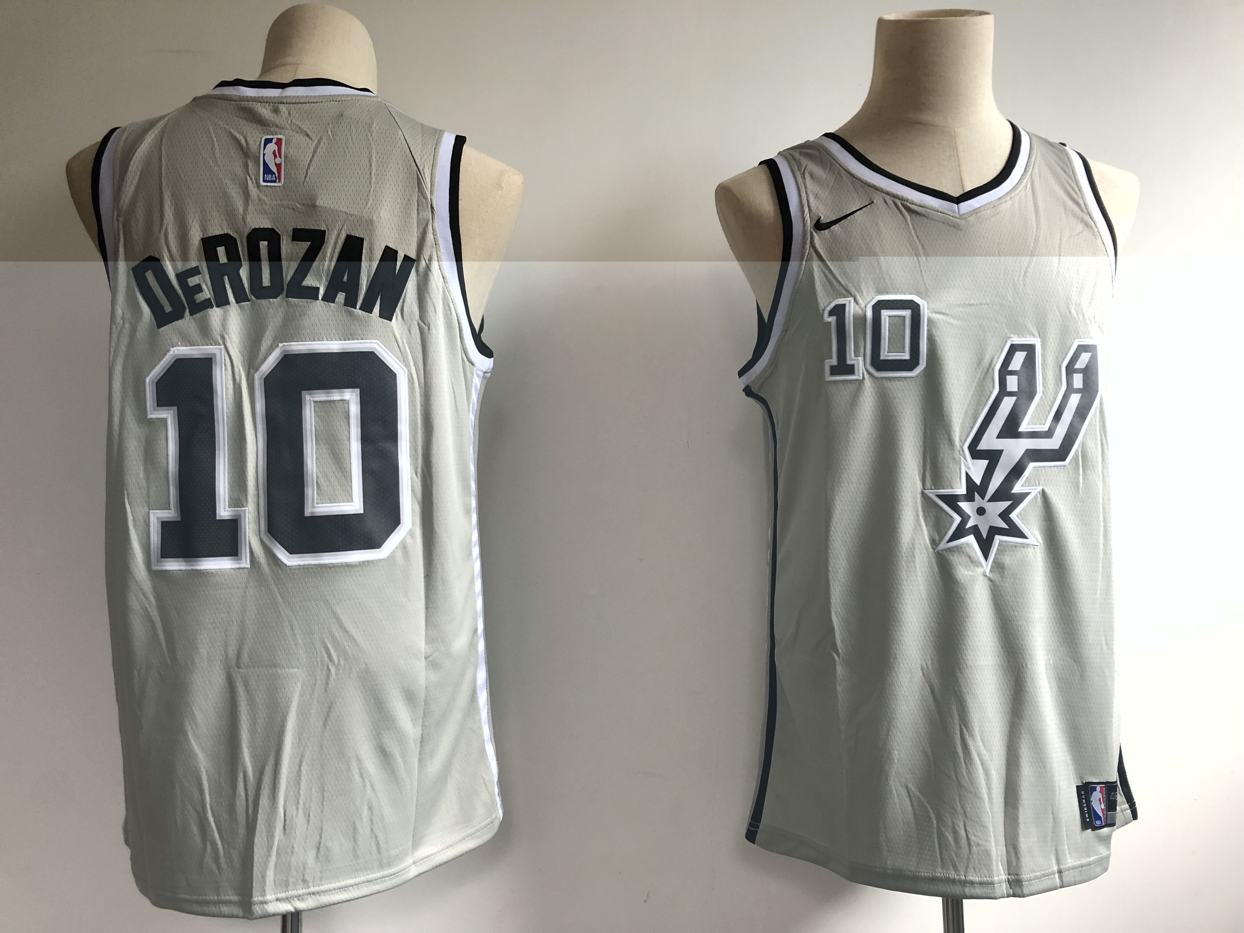 Men's San Antonio Spurs #10 DeMar DeRozan Gray NBA Swingman Stitched Jersey