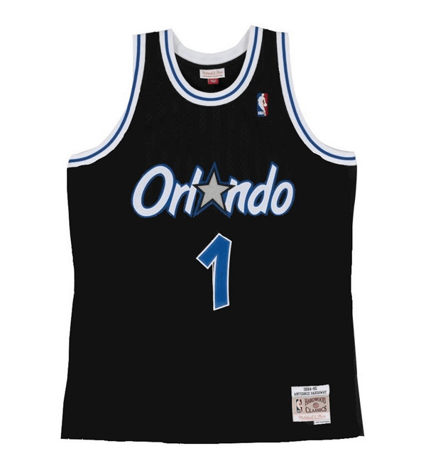 Men's Orlando Magic #1 Tracy McGrady Black Throwback Stitched Jersey