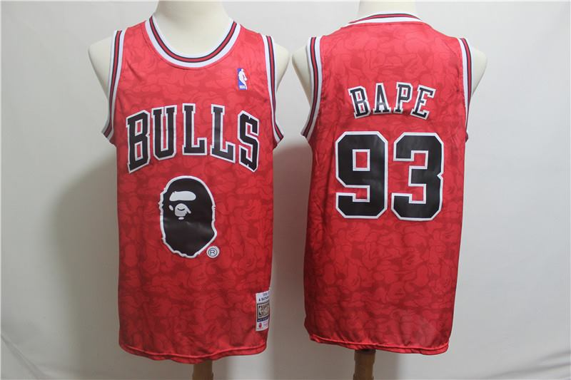 Men's Chicago Bulls #93 Bape 1996-97 A Bathing Ape Bulls Red Stitched NBA Jersey