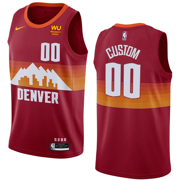 Men's Denver Nuggets Active Player Red Custom 2020-21 City Edition Stitched NBA Jersey