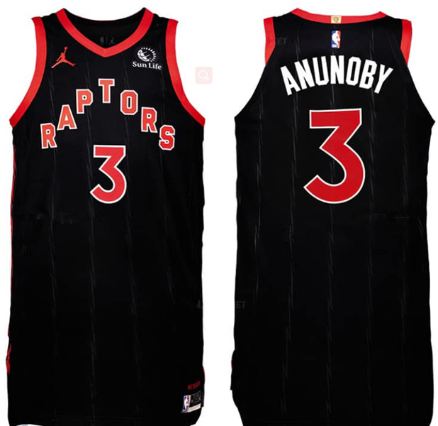 Men's Toronto Raptors #3 OG Anunoby Black Stitched NBA Jersey