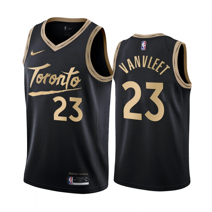 Men's Toronto Raptors #23 Fred VanVleet Black City Edition Stitched Jersey