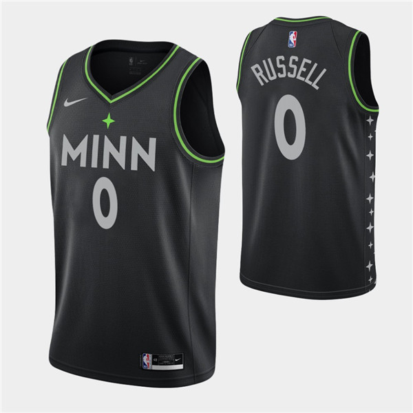 Men's Minnesota Timberwolves #0 D'Angelo Russell 2020-21 Black City Edition Stitched Jersey