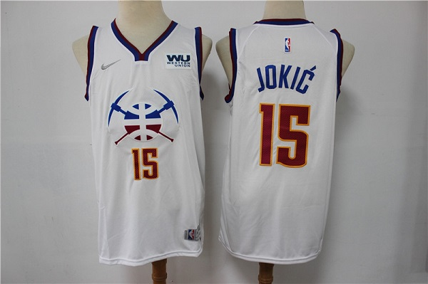Men's Denver Nuggets #15 Nikola Jokic White Stitched Jersey