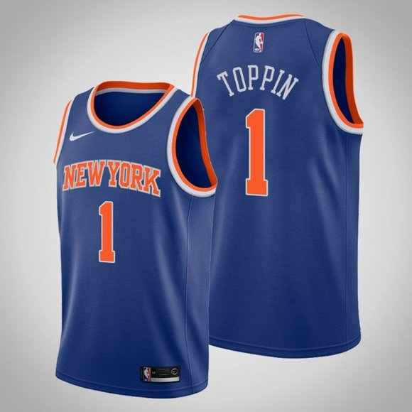 New Yok Knicks #1 Obi Toppin Blue Stitched Swingman Jersey