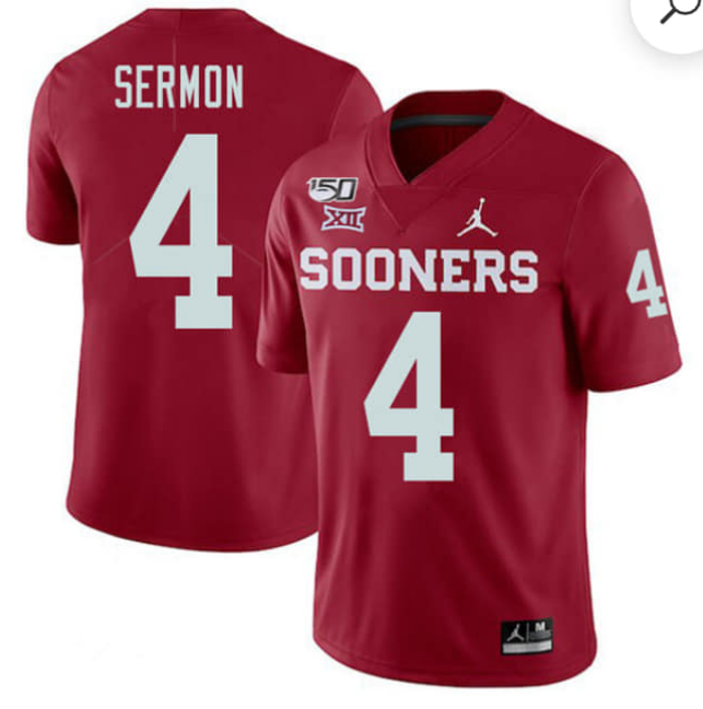 Men's Oklahoma Sooners #4 Trey Sermon Red 150th Season Stitched NCAA Jersey