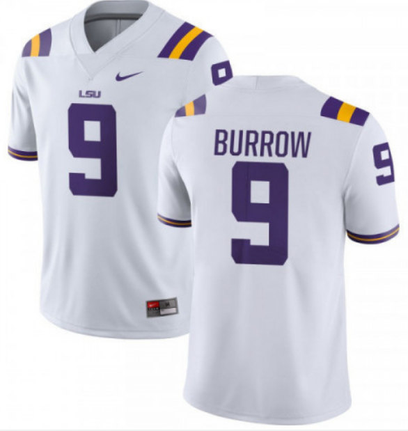 LSU Tigers #9 Joe Burrow White Stitched NCAA Jersey
