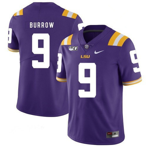 Men's LSU Tigers #9 Joe Burrow Purple With 150th Patch Limited Stitched NCAA Jersey