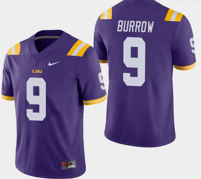 Men's LSU Tigers #9 Joe Burrow Purple Stitched NCAA Jersey
