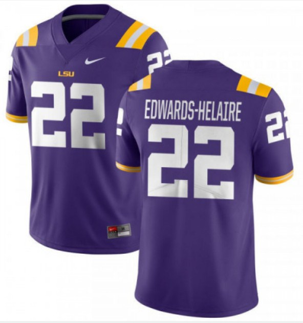 LSU Tigers #22 Clyde Edwards-Helaire Purple Stitched NCAA Jersey