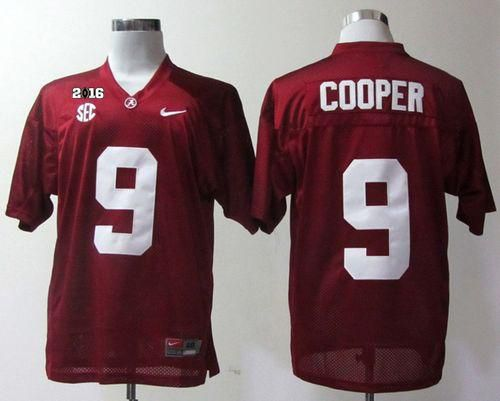 Crimson Tide #9 Amari Cooper Red 2016 College Football Playoff National Championship Patch Stitched NCAA Jersey