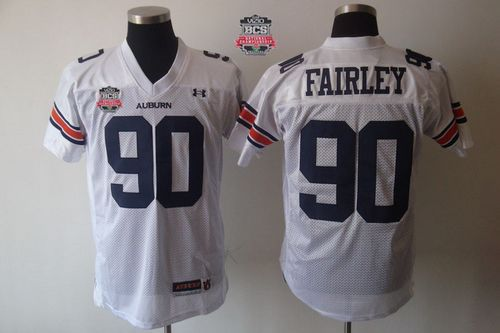 Tigers #90 Fairley White 2014 BCS Bowl Patch Stitched NCAA Jersey