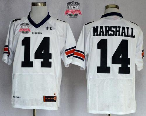 Tigers #14 Nick Marshall White 2014 BCS Bowl Patch Stitched NCAA Jersey