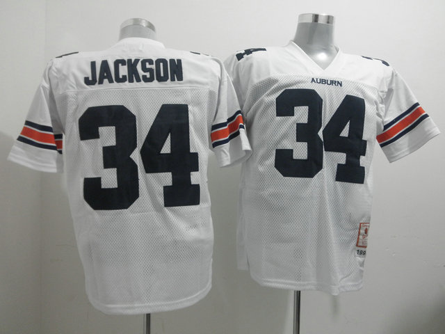 Tigers #34 Bo Jackson White Throwback Stitched NCAA Jersey