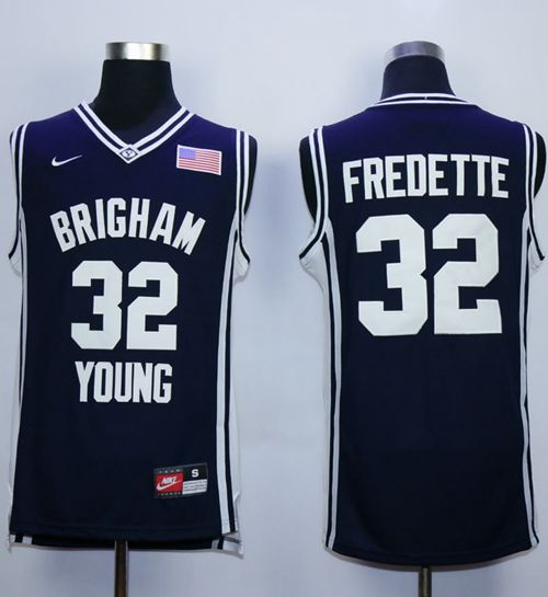 BYU Cougars #32 Jimmer Fredette Navy Blue Basketball Stitched NCAA Jersey