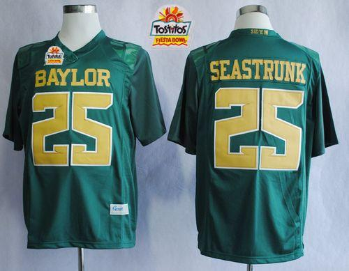 Bears #25 Lache Seastrunk Green 2014 Fiesta Bowl Patch Stitched NCAA Jersey