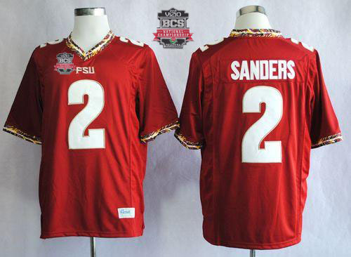 Seminoles #2 Deion Sanders New Red 2014 BCS Bowl Patch Stitched NCAA Jersey