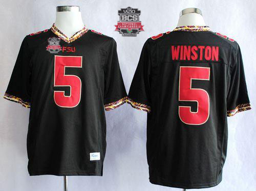 Seminoles #5 Jameis Winston Black 2014 BCS Bowl Patch Stitched NCAA Jersey