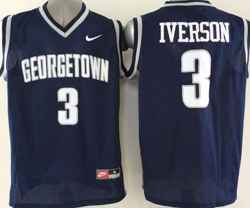 Hoyas #3 Allen Iverson Navy Blue Basketball Stitched NCAA Jersey