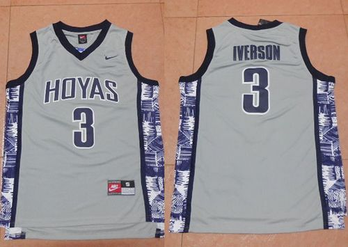Hoyas #3 Allen Iverson Grey New Basketball Stitched NCAA Jersey