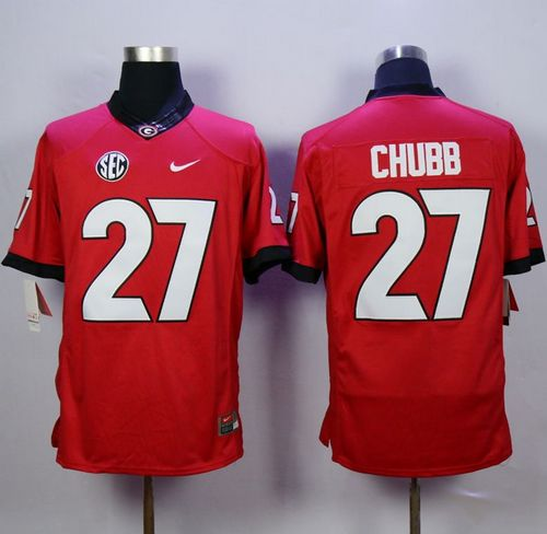 Bulldogs #27 Nick Chubb Red Limited Stitched NCAA Jersey