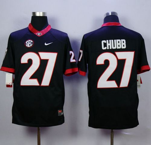 Bulldogs #27 Nick Chubb Black Limited Stitched NCAA Jersey