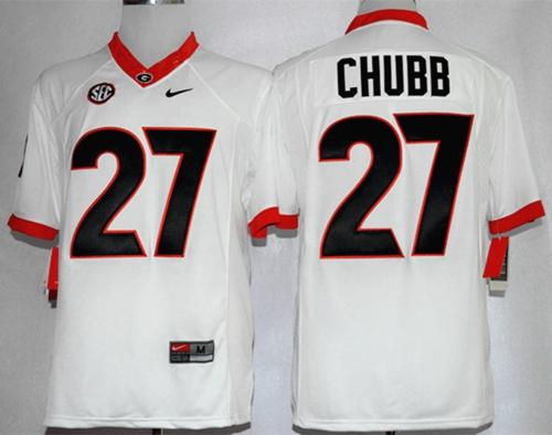 Bulldogs #27 Nick Chubb White Limited Stitched NCAA Jersey