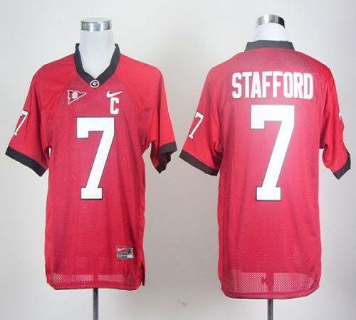 Bulldogs #7 Matthew Stafford Red With C Patch Stitched NCAA Jersey