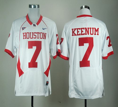 Cougars #7 Case Keenum White C-USA Patch Stitched NCAA Jersey