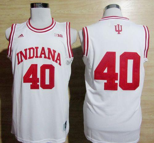 Hoosiers #40 Cody Zeller White Basketball Stitched NCAA Jersey