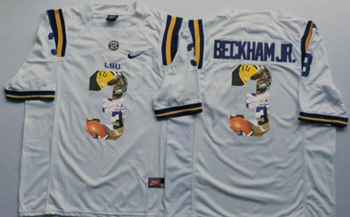 LSU Tigers #3 Odell Beckham Jr White Player Fashion Stitched NCAA Jersey